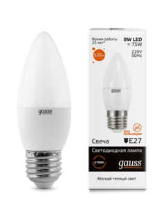 Лампа Gauss LED Elementary Candle 8W E27 2700K (33218)