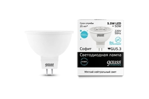 Светодиодная лампа Gauss Elementary LED LENS MR16 220V 5.5W/GU5.3/42 16526 (1/10/100)