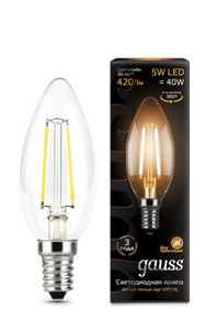 Лампа Gauss LED Filament Candle E14 5W 2700К   103801105