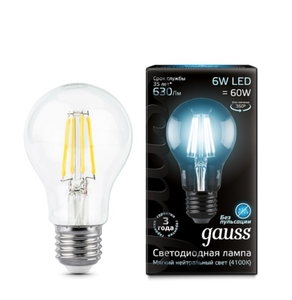 Лампа Gauss LED Filament A60 E27 6W 4100К    102802206
