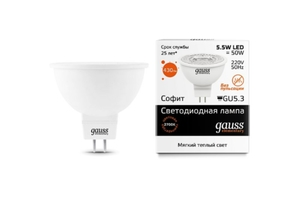 Светодиодная лампа Gauss Elementary LED LENS MR16 220V 5.5W/GU5.3/27 16516 (1/10/100)