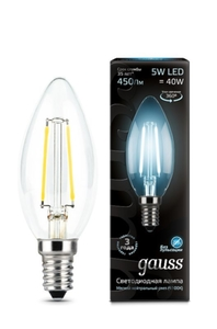 Лампа Gauss LED Filament Candle E14 5W 4100К    103801205